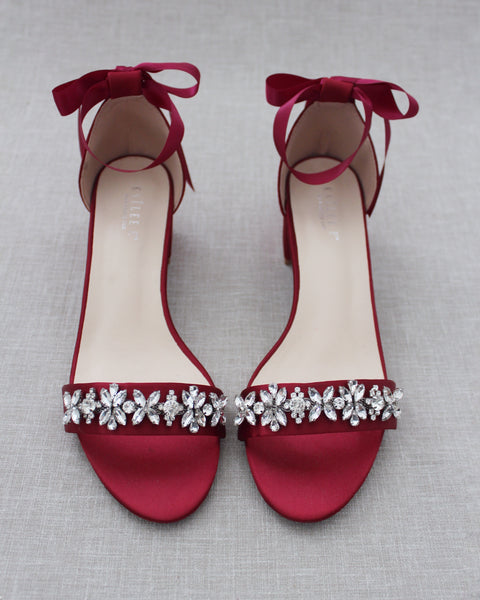 Burgundy Satin Block Heel Sandals with FLORAL RHINESTONES on Upper Strap