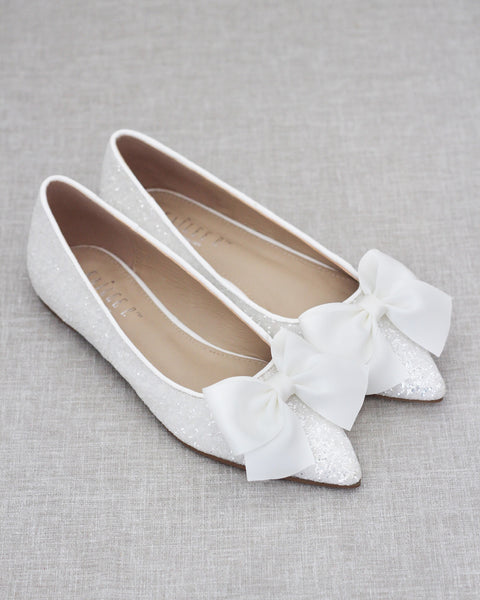 WHITE Pointy Toe Rock Glitter Flats with Oversized Satin Bow
