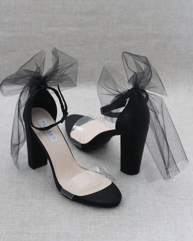 Lucite BLACK Shimmer Block Heel Sandals with BACK TULLE BOW