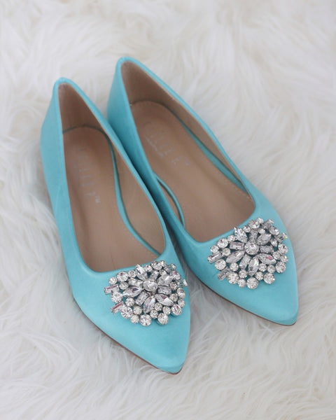TEAL BLUE Satin Pointy Toe Flats with Oversized Brooch