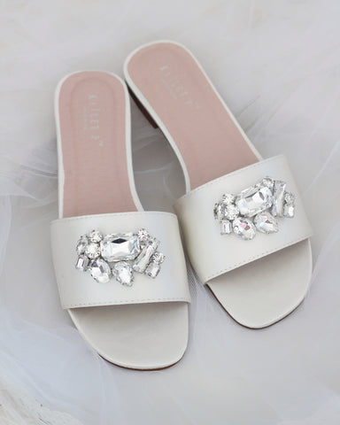 Women IVORY SATIN Slip on Sandals with Oversized Rhinestones Brooch