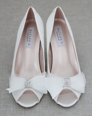 WHITE Satin Peep Toe Heel with Mesh Embellished Bow