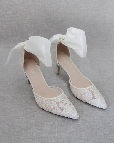IVORY Crochet Lace Pointy Toe HEELS with SATIN TIE