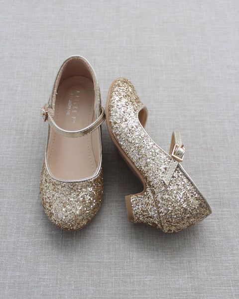 GOLD Rock Glitter Mary Jane with Glitter Heels