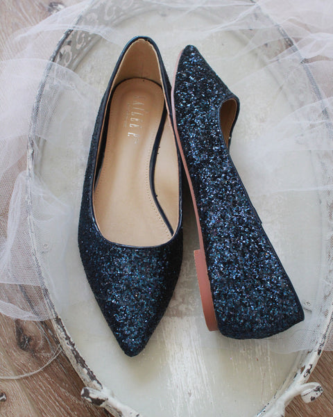 NAVY Rock Glitter Pointy Toe  Flats with Satin Bow