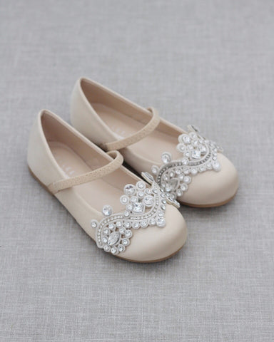 CHAMPAGNE Satin Mary Jane Flats with SMALL RHINESTONES APPLIQUE