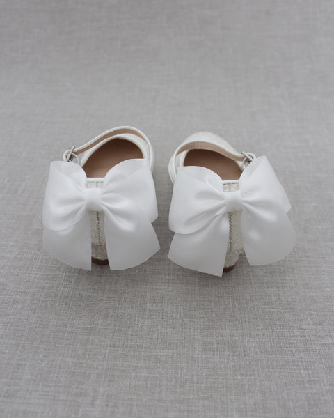 WHITE Rock Glitter Maryjane Heels With Satin Bow
