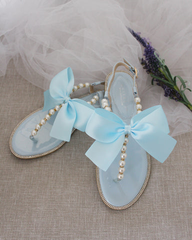 LIGHT BLUE T-Strap Pearl & Gold Beads Flat Sandals with Oversized Satin Bow
