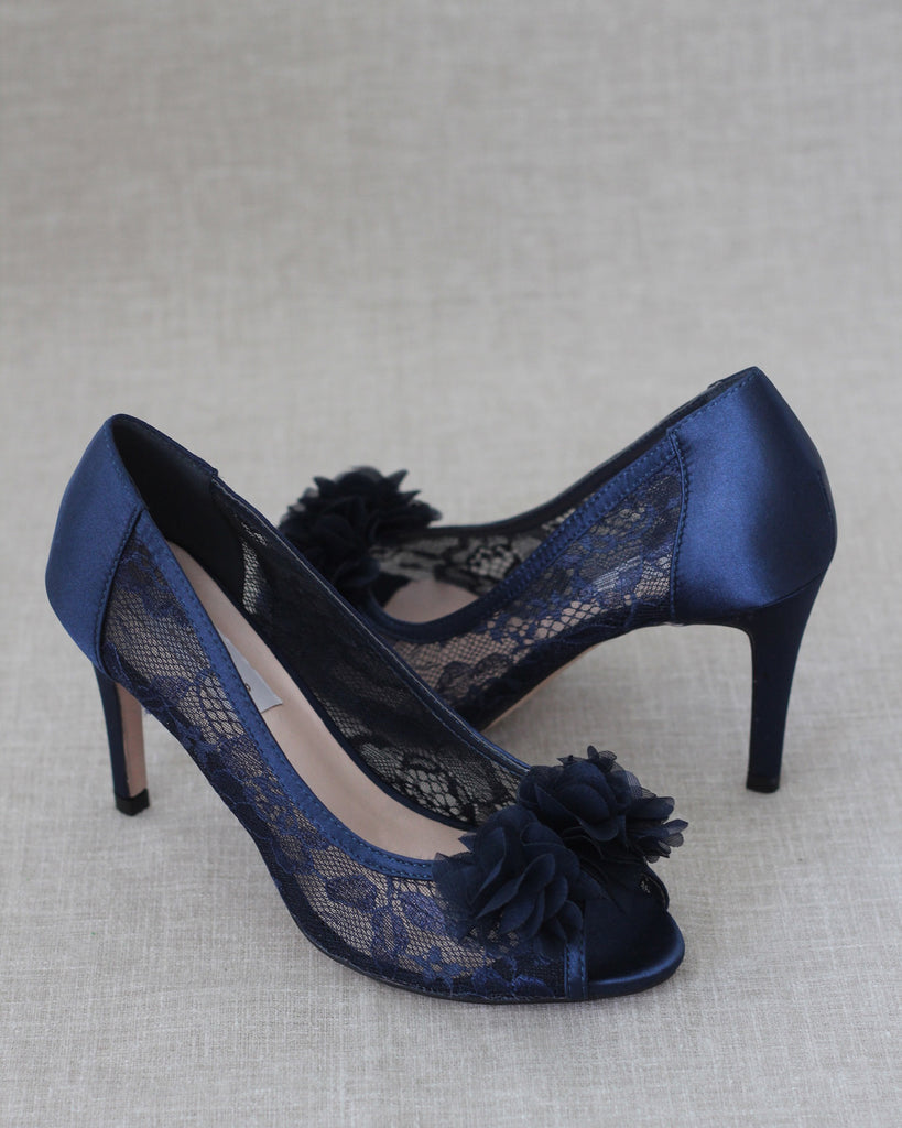 NAVY New Lace Peep Toe Heel with Chiffon Flowers