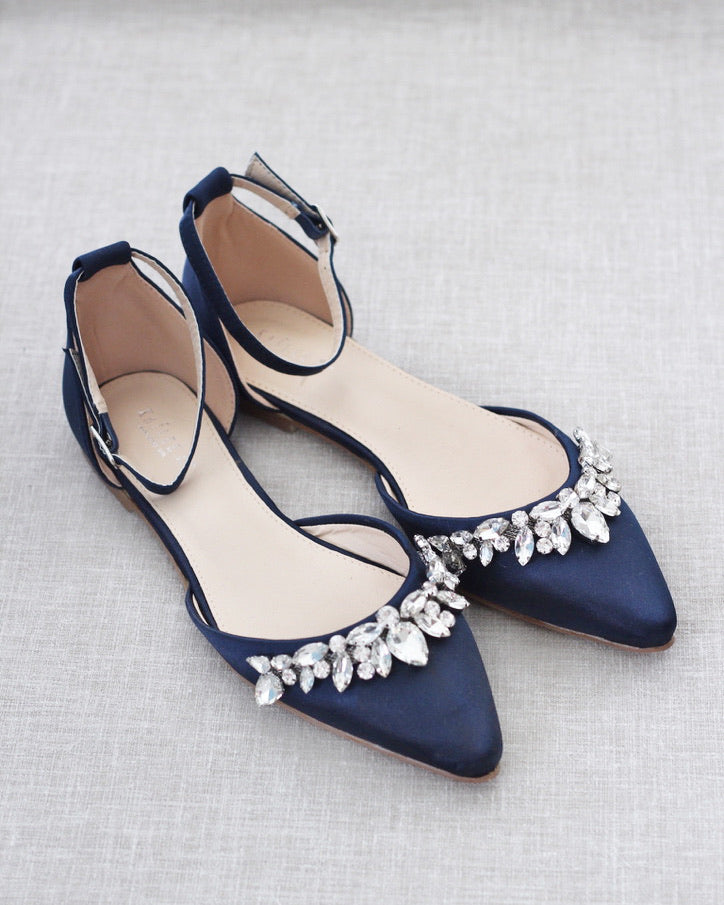 Navy Blue Satin Pointy Toe Flats with TEARDROP RHINESTONES Embellishments