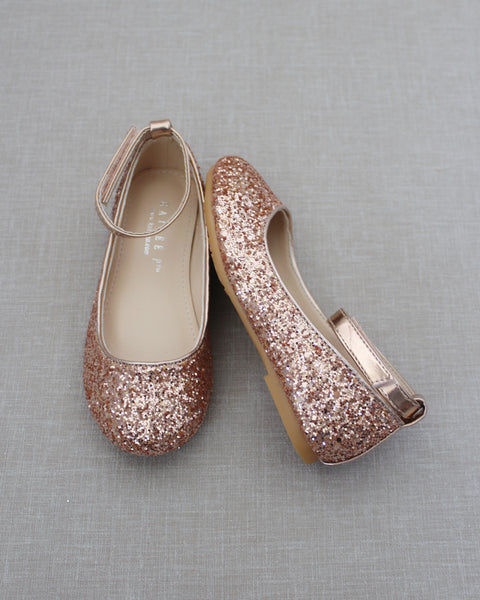 ROSE GOLD Rock Glitter Ballet Flats With Velcro Ankle Strap