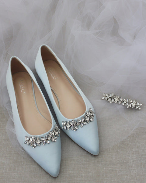 LIGHT BLUE Satin Pointy Toe Flats with FLORAL RHINESTONES Embellishments