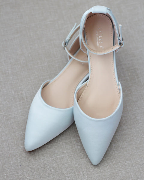 LIGHT BLUE Satin Pointy Toe Flats with Ankle Strap