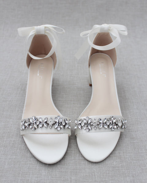 Ivory Satin Block Heel Sandals with FLORAL RHINESTONES on Upper Strap