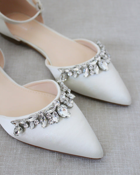 Ivory Satin Pointy Toe Flats with TEARDROP RHINESTONES Embellishments