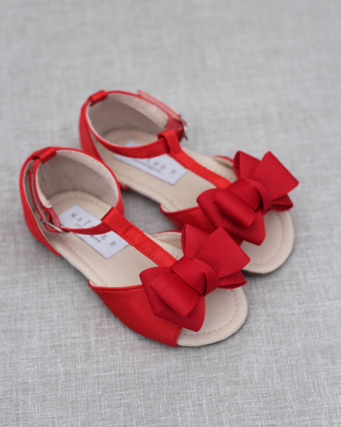 Red Satin Sandals with GROSGRAIN Bow