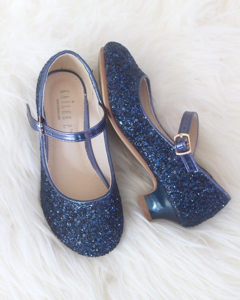 navy glitter heels for girls