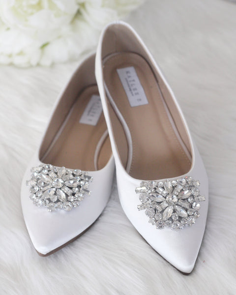 Women White Pointy Toe Satin Flats with Oversized Brooch ,Women Shoes- Kailee P
