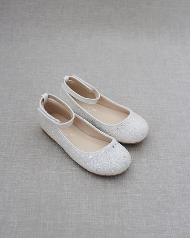 WHITE Rock Glitter Ballet Flats With Velcro Ankle Strap