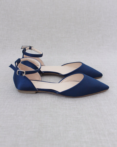 NAVY Satin Pointy Toe Flats with Ankle Strap