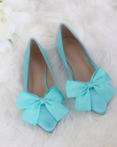 TEAL BLUE Satin Pointy Toe Flats with Oversized Satin Bow