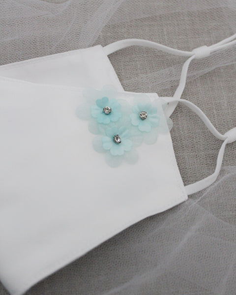 White Satin Face Mask with LIGHT BLUE Flower Applique
