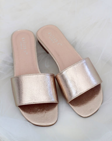 Women ROSE GOLD METALLIC Slip on Sandals