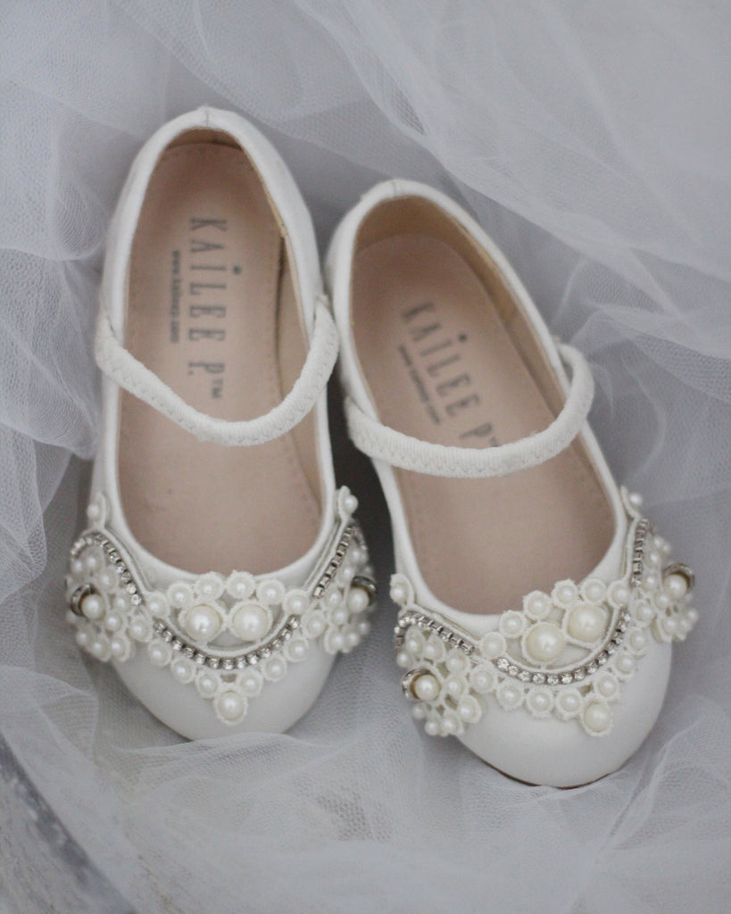 IVORY Satin Maryjane Flats with Oversized Lace And Pearls Applique