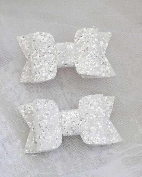 WHITE Rock Glitter HAIR CLIP or SHOE CLIP