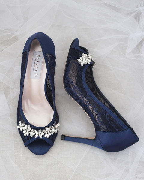 NAVY New Lace Peep Toe Heel with FLORAL RHINESTONES Embellishment
