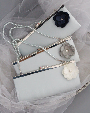 light blue satin clutch