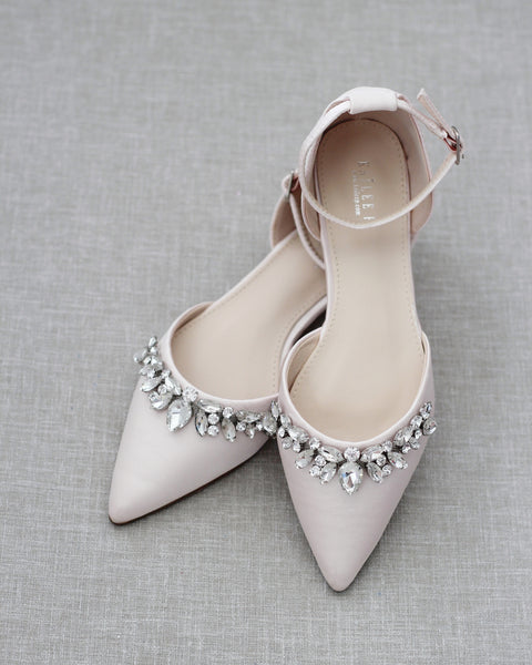 Blush Satin Pointy Toe Flats with TEARDROP RHINESTONES Embellishments