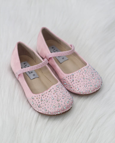 Girls Infant shoes PINK Satin Maryjane Flats With Rhinestones Embellishment ,Kids Shoes- Kailee P