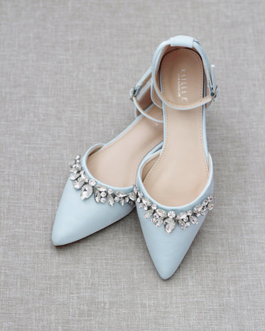 LIGHT BLUE Satin Pointy Toe Flats with Rhinestones Embellishments