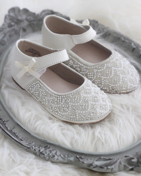 Girls Infant Toddler Shoes -  IVORY Satin Maryjane Flats With Rhinestones & Pearl ,Kids Shoes- Kailee P
