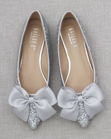 SILVER Pointy Toe Rock Glitter Flats with Satin Bow