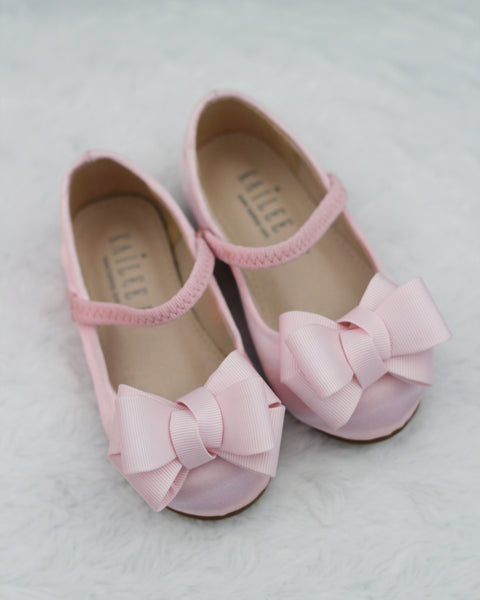 PINK Satin Maryjane Flats with Grosgrain Bow