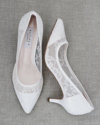WHITE NEW LACE Pointy toe Kitten Heels