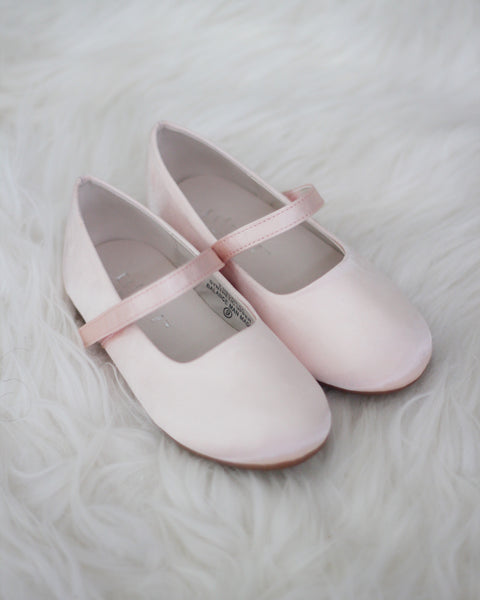 blush satin Mary Jane shoes