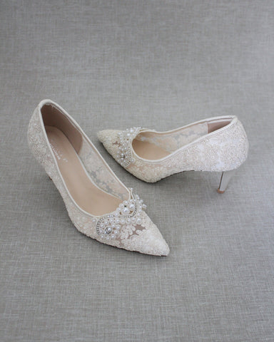Ivory Crochet Lace Pointy toe PUMPS with Small Pearls Applique