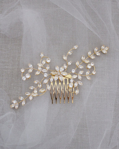 Rhinestones Flower Sprays Hair Comb