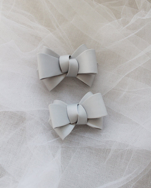 Gray Grosgrain Bow HAIR CLIP or SHOE CLIP