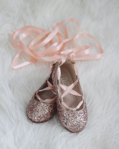 rose gold glitter ballerina shoes