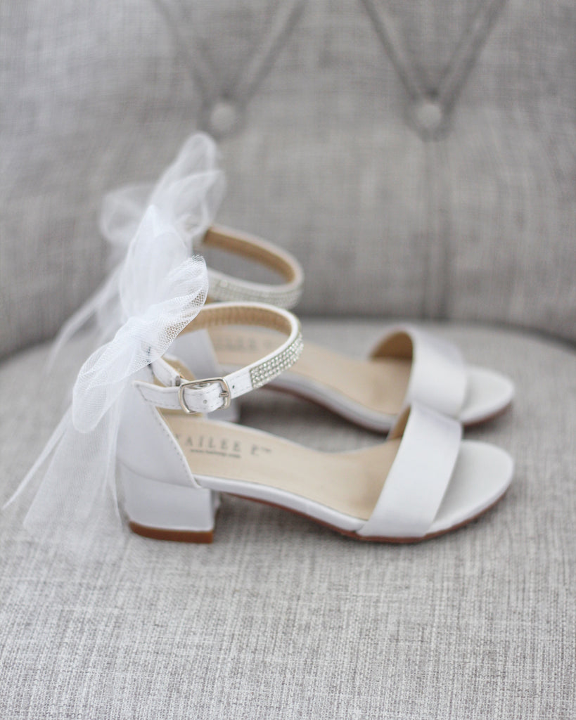 WHITE SATIN Block Heel Sandals with Tulle Bow