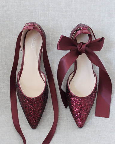 BURGUNDY Rock Glitter Pointy Toe Flats with Satin Ankle Tie or Ballerina Lace Up