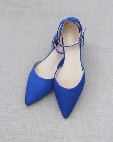 ROYAL BLUE Satin Pointy Toe Flats with Ankle Strap