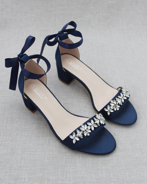 Navy Blue Satin Block Heel Sandals with FLORAL RHINESTONES on Upper Strap