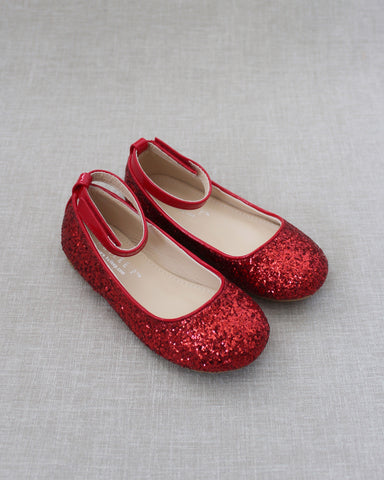 RED Rock Glitter Ballet Flats With Velcro Ankle Strap
