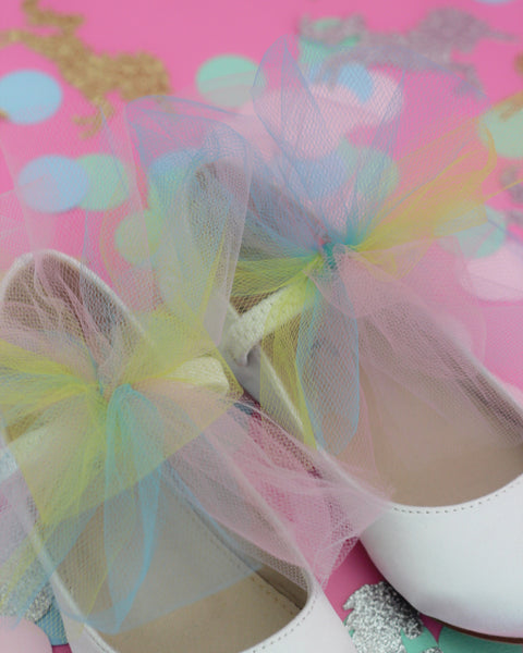 UNICORN INSPIRED - WHITE Satin Mary Jane Flats with Rainbow Tulle Bow