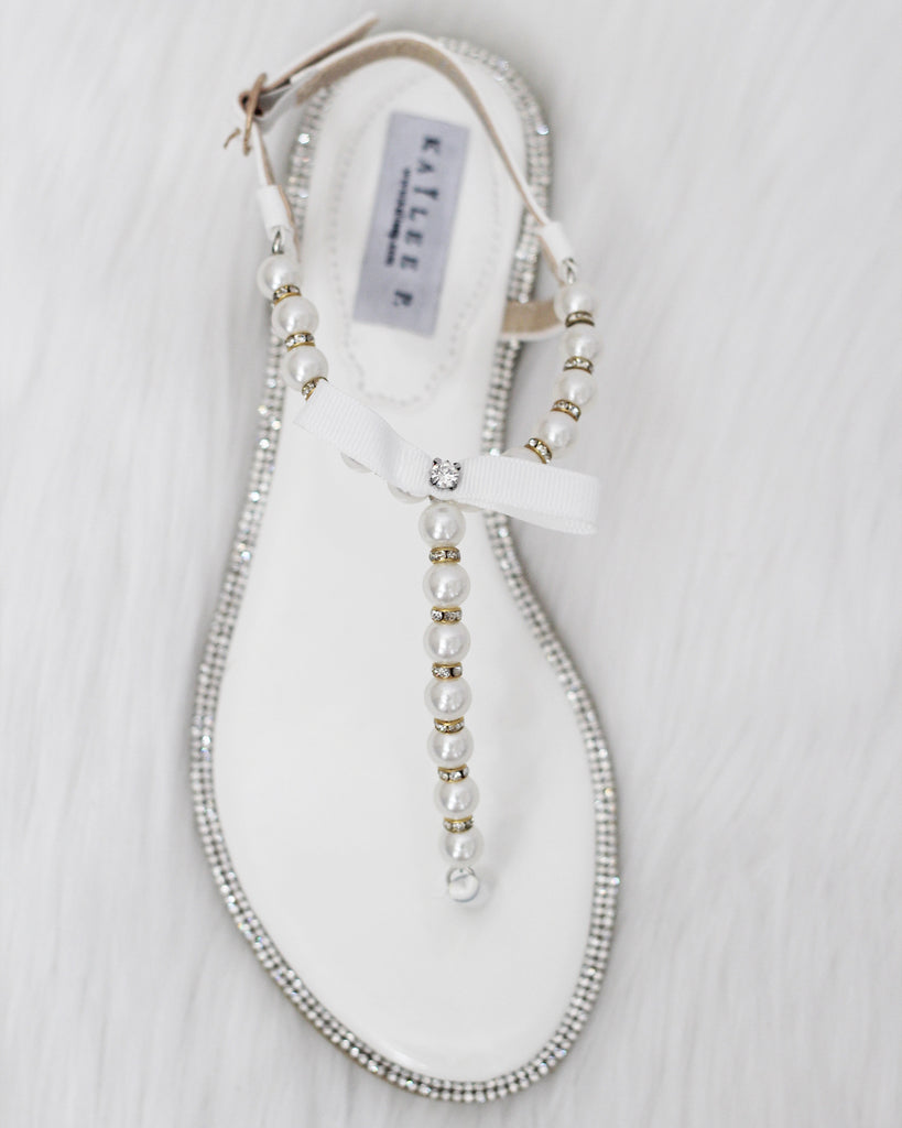 3711964ed37c Women Pearl Flat Sandals - White Pearls   Rhinestones T-strap Embellished  Flat Sandals